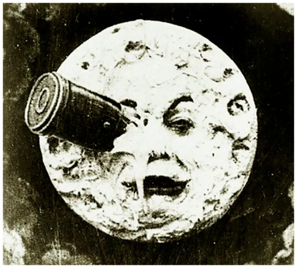 """The iconic scene from Georges Méliès' pioneering film, """"A Trip to the Moon,"""" in 1902."""